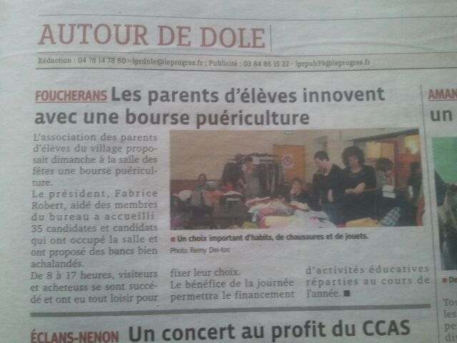 Article de Presse - Bourse Puériculture/Vêtements dans Le Coin Presse boursepuerivet24313